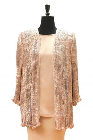 Luxury Venice Coat in Pink Oyster hand pleated silk