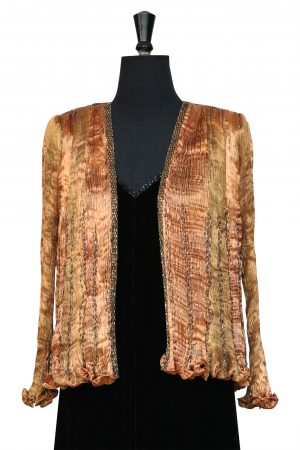 Pleated Jacket in Glorious Gold in Hand Pleated Silk