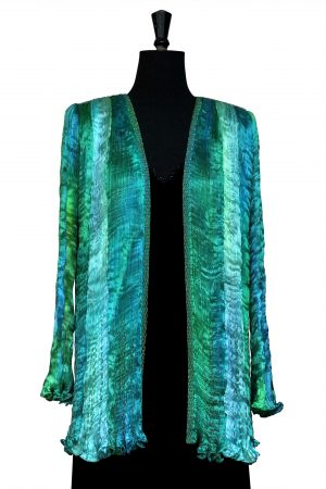 Pleated Jacket in Dragonfly Green and Turquoise hand pleated silk