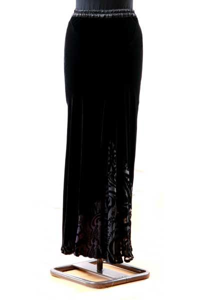 Slim Bias long velvet skirt - Black and Icon Purple-1155