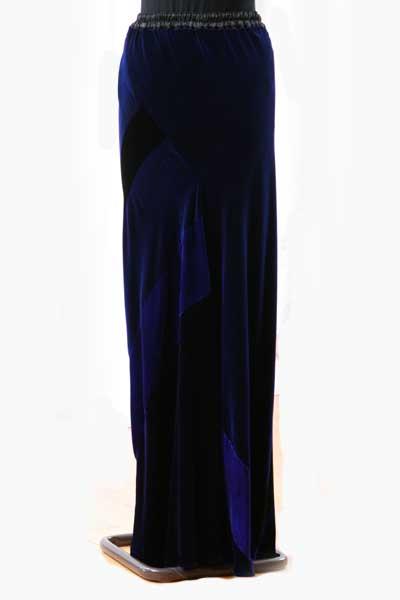 Long velvet Patchwork Skirt in Black & Icon Blue-1153
