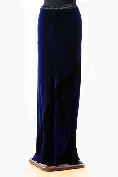 Long velvet Patchwork Skirt in Black & Icon Blue-1154