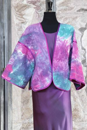 Reversible Quilted Jacket in Hand Marbled Spun Silk and Silk Crepe Back Satin – Quilted by Quilting Matters
