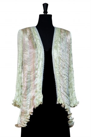 Pleated Tailcoat in Lettuce Rainbow hand pleated silk