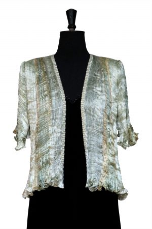 Pleated Jacket in Golden Sage Green hand pleated silk