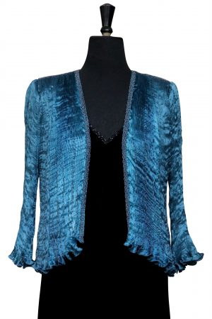 Hand Pleated Silk Jacket in MP Blue