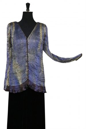 Buttoned Chapel Jacket in Shimmering Moon Hand Pleated Silk with Stripe & Deco Phantom Print