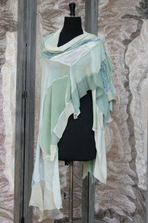 Hand Painted Shawl in Pale Mixed Greens Velvet, Silk Georgette and Chiffon