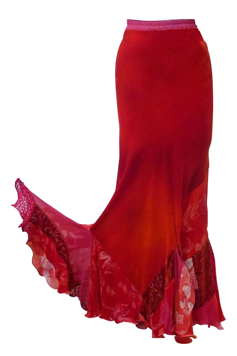 Flamenco Skirt in flame red-3826
