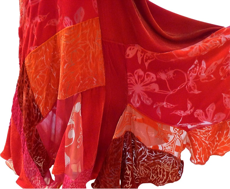 Flamenco Skirt in flame red-3825