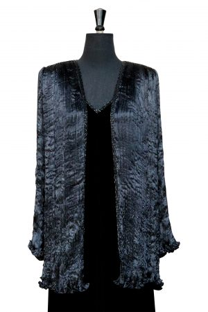 Timeless Pleated Jacket in Hand Pleated Black Silk