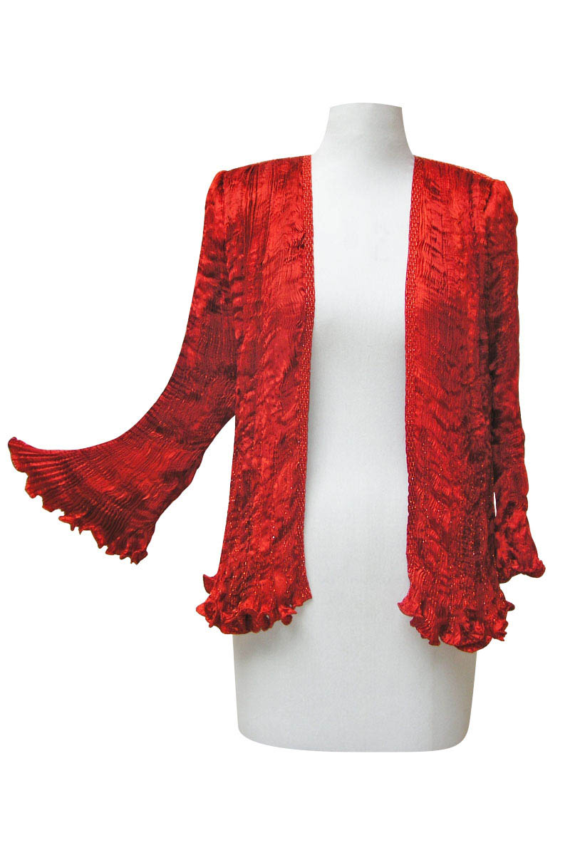 Pleated Jacket in Burnt Orange-4075