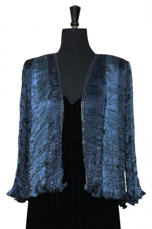 Hand pleated silk jacket in Navy and Steel Blues
