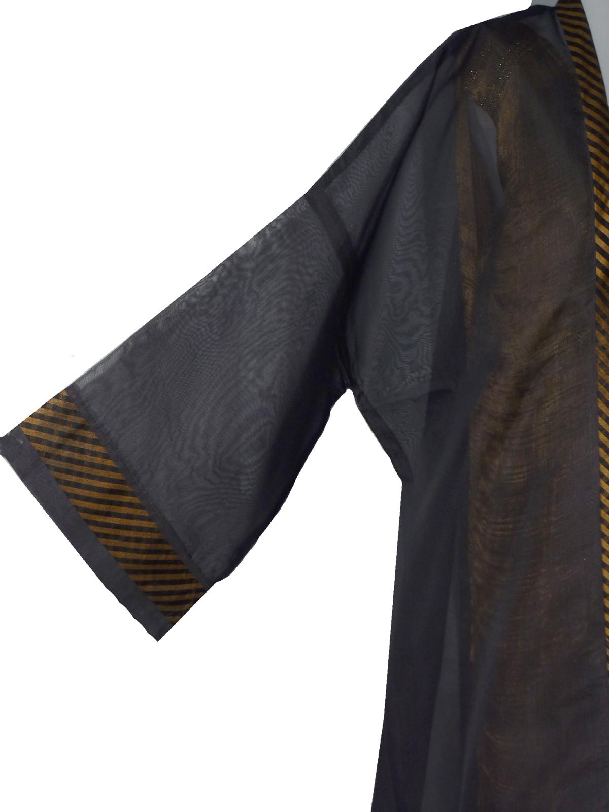 Grand Black Organza Kimono-4970