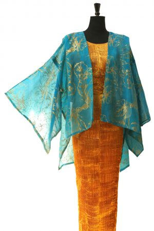 Kimono Jacket in Turquoise Sea Silk Organza with Morning Glory Gold Print