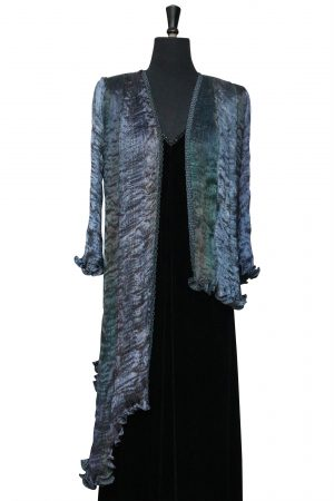 Luxury Silk Assymetrical Tailcoat in Blue Oilslick and Rich Navy Blue