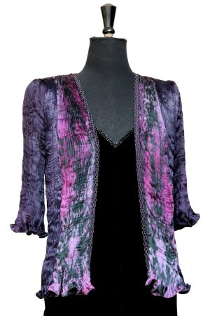 Pleated Tailcoat in Black Tulip & Icon Purple Chrysanthemum Phantom Print