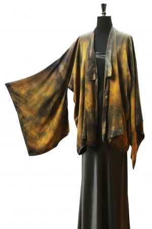 Kimono Jacket in Galaxy Black & Seaweed Silk Crepe Back Satin
