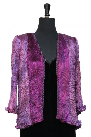 Hand Pleated Silk Jacket in Moorland Heather Purples