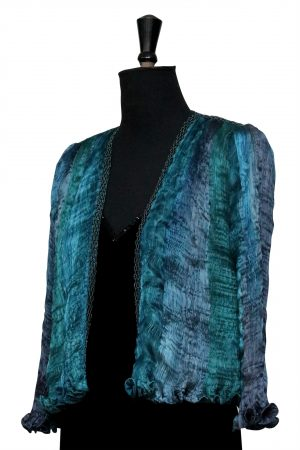 Hand Pleated Silk Jacket in Mixed Blues & Greens