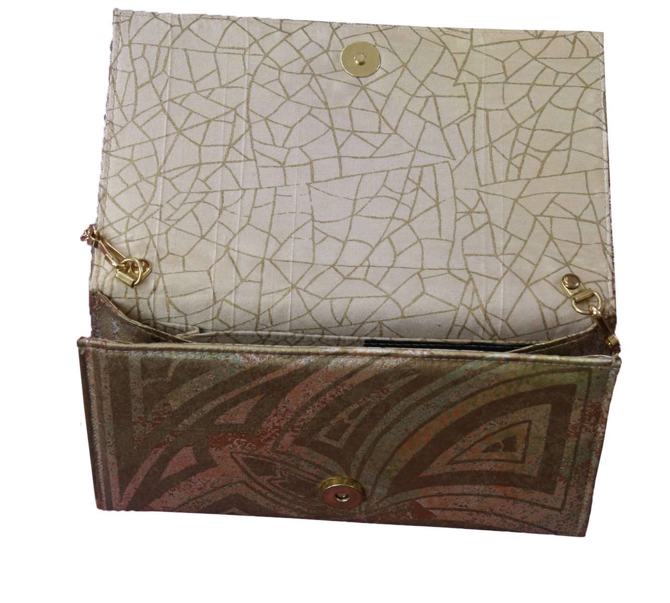 Hand painted gold silk purse-6492