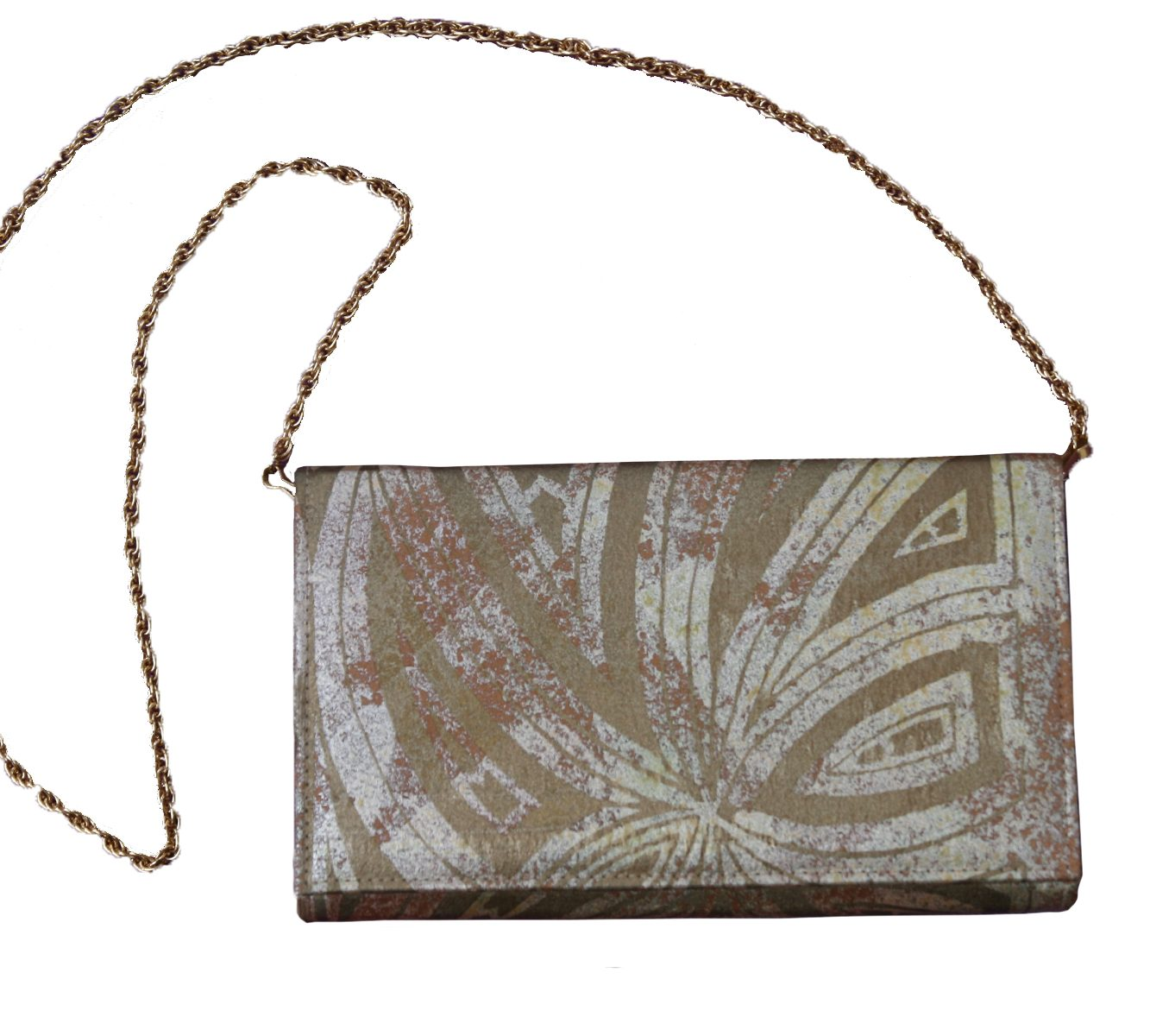 Hand painted gold silk purse-6490