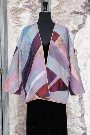 Kesa Coat in Mixed Purples in Patchwork Mixed Silks