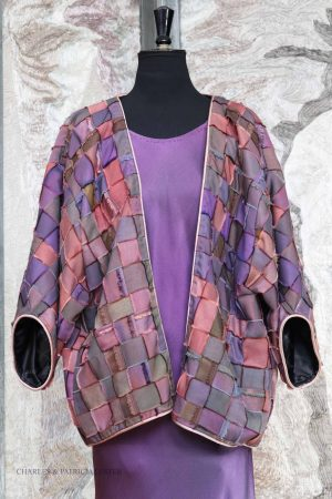 Ribbon Coat in Purple Earth Tones – Hand Woven Hand Dyed Silk Ribbons