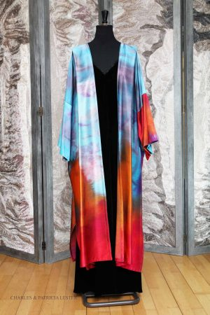 Long Norma Coat in Tropical Sunset – hand painted on Cotton/Viscose satin