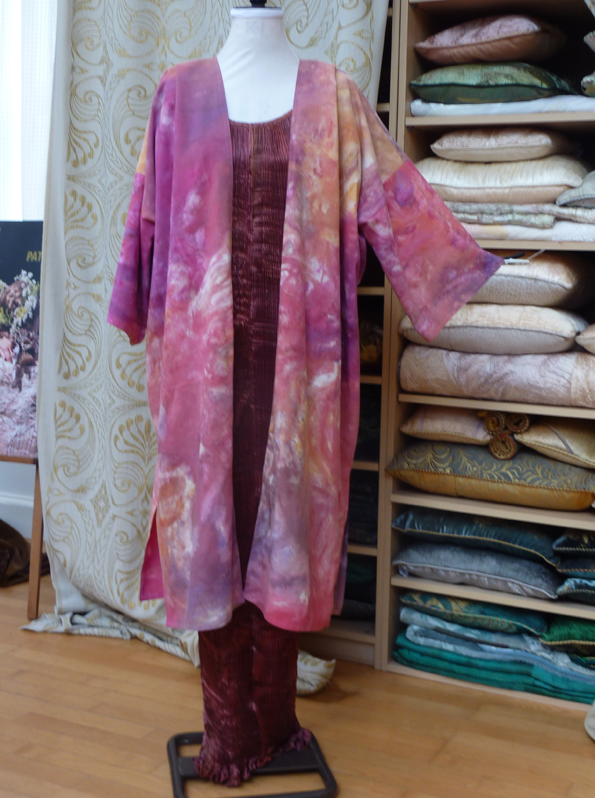 Long Pink hand marbled coat-6960