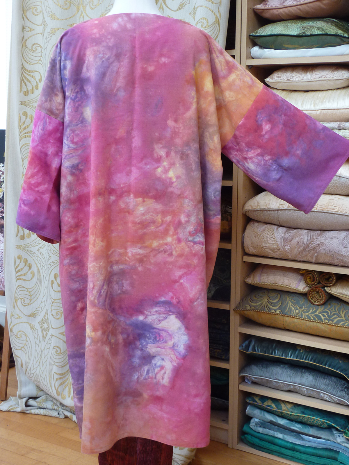 Long Pink hand marbled coat-6962