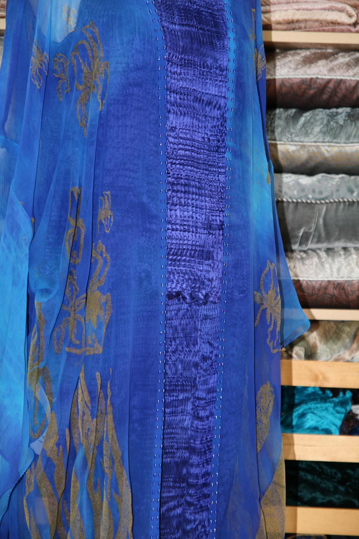 Long Kimono in Enamel Blue-7134