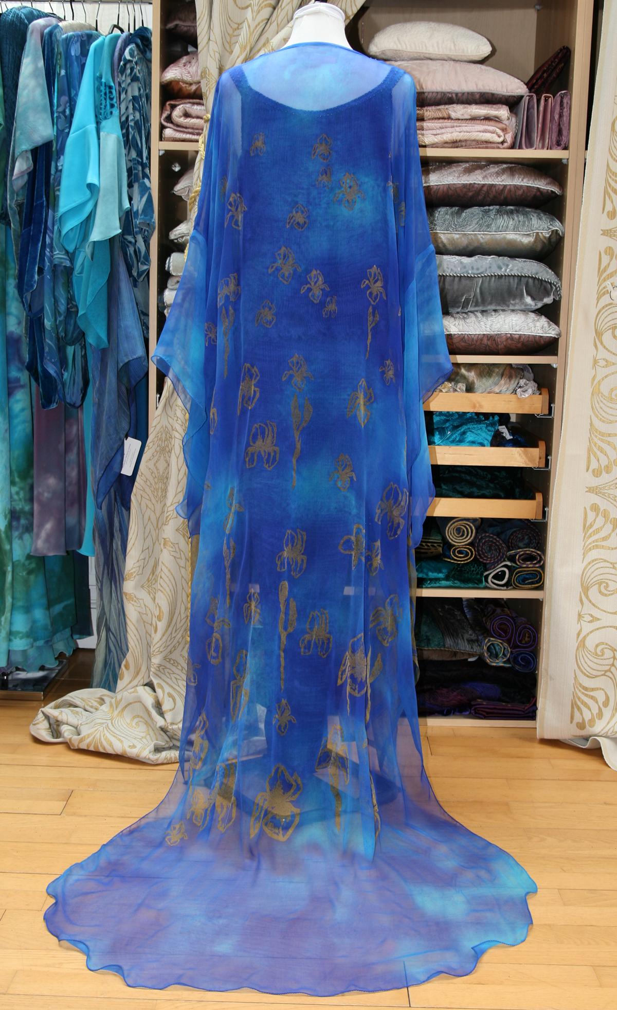 Long Kimono in Enamel Blue-7137