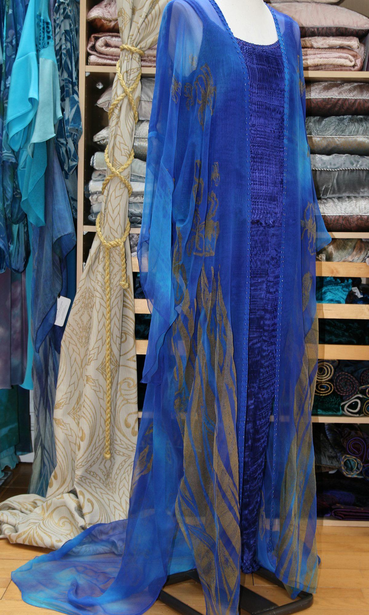 Long Kimono in Enamel Blue-7135
