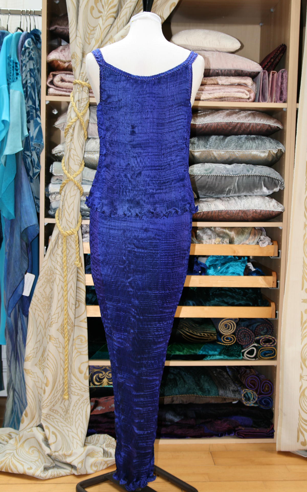 Long Kimono in Enamel Blue-7133
