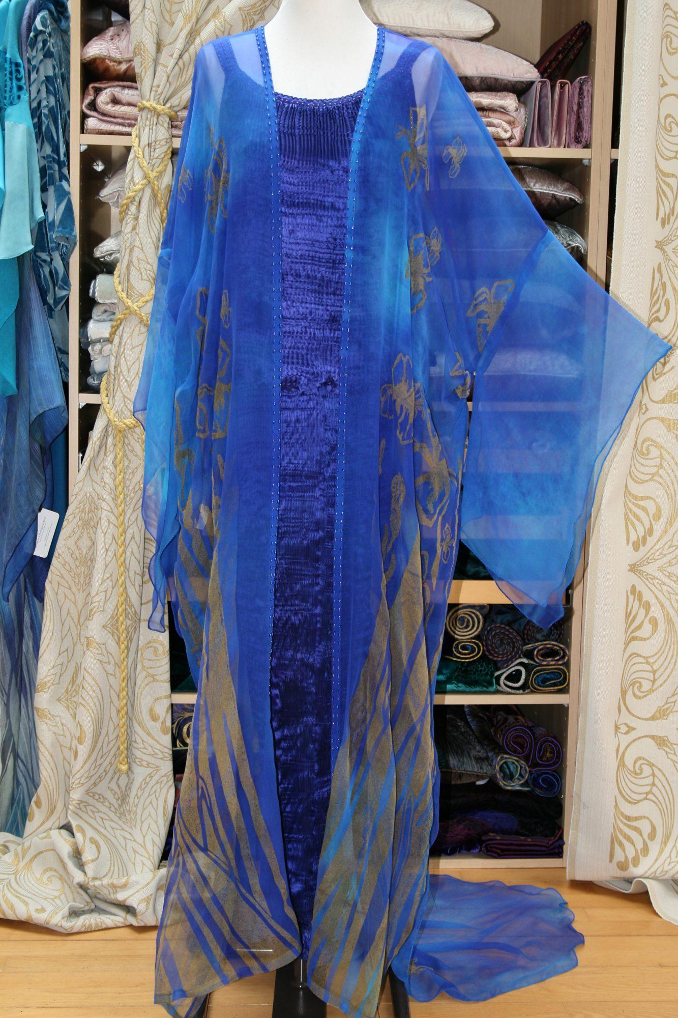 Long Kimono in Enamel Blue-7139