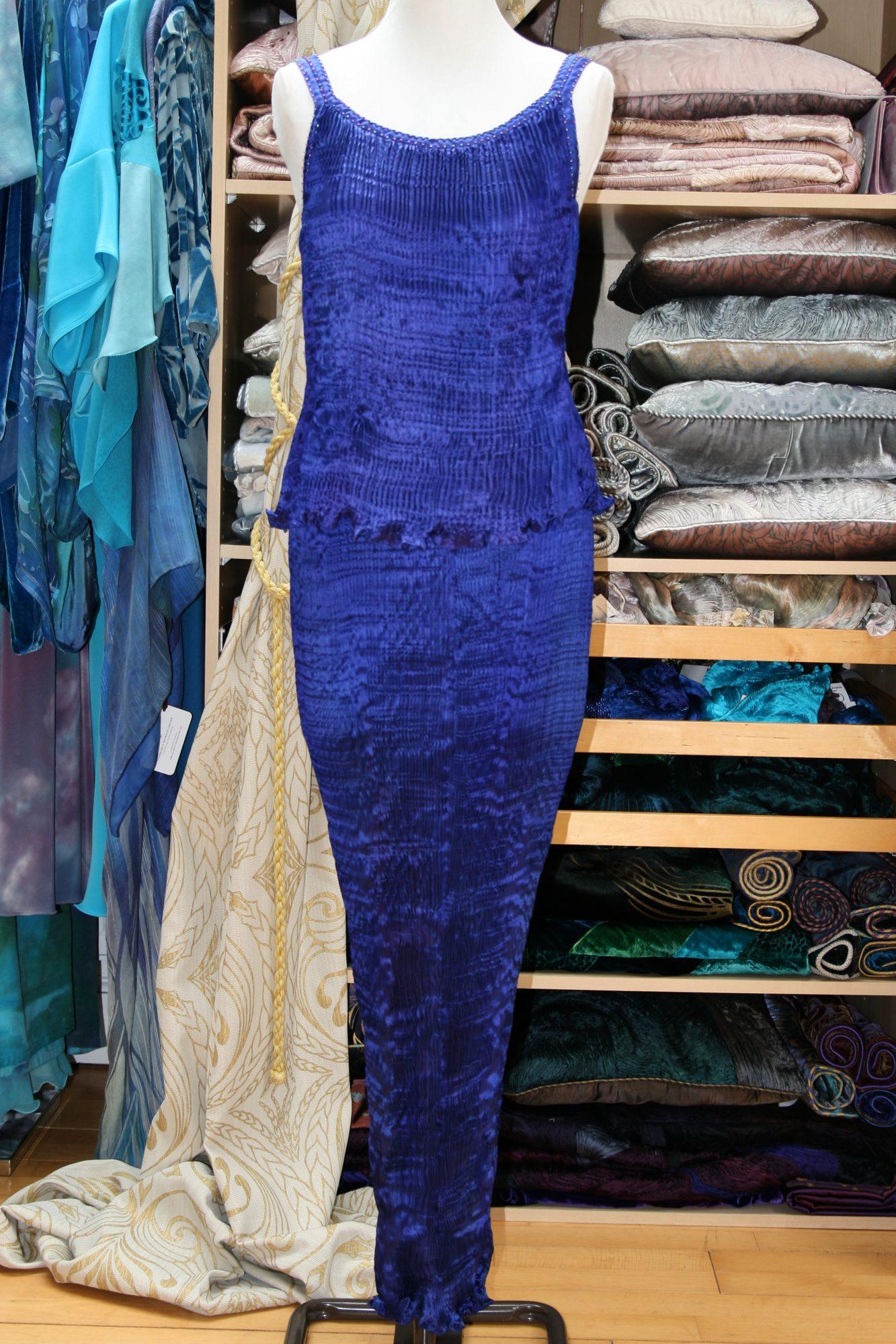 Long Kimono in Enamel Blue-7138