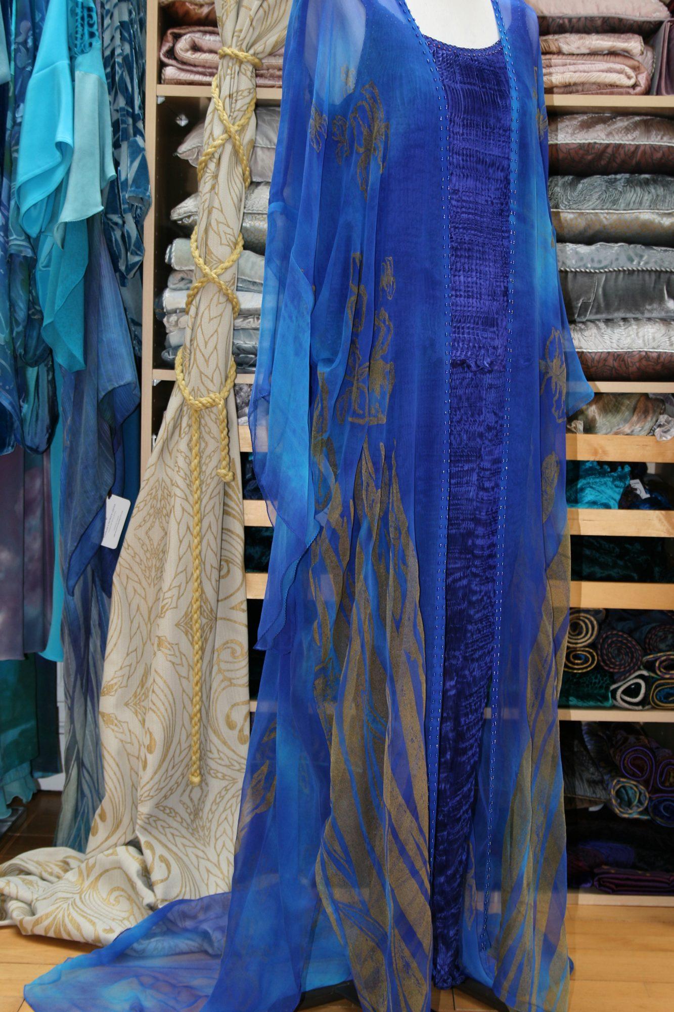 Long Kimono in Enamel Blue-7141