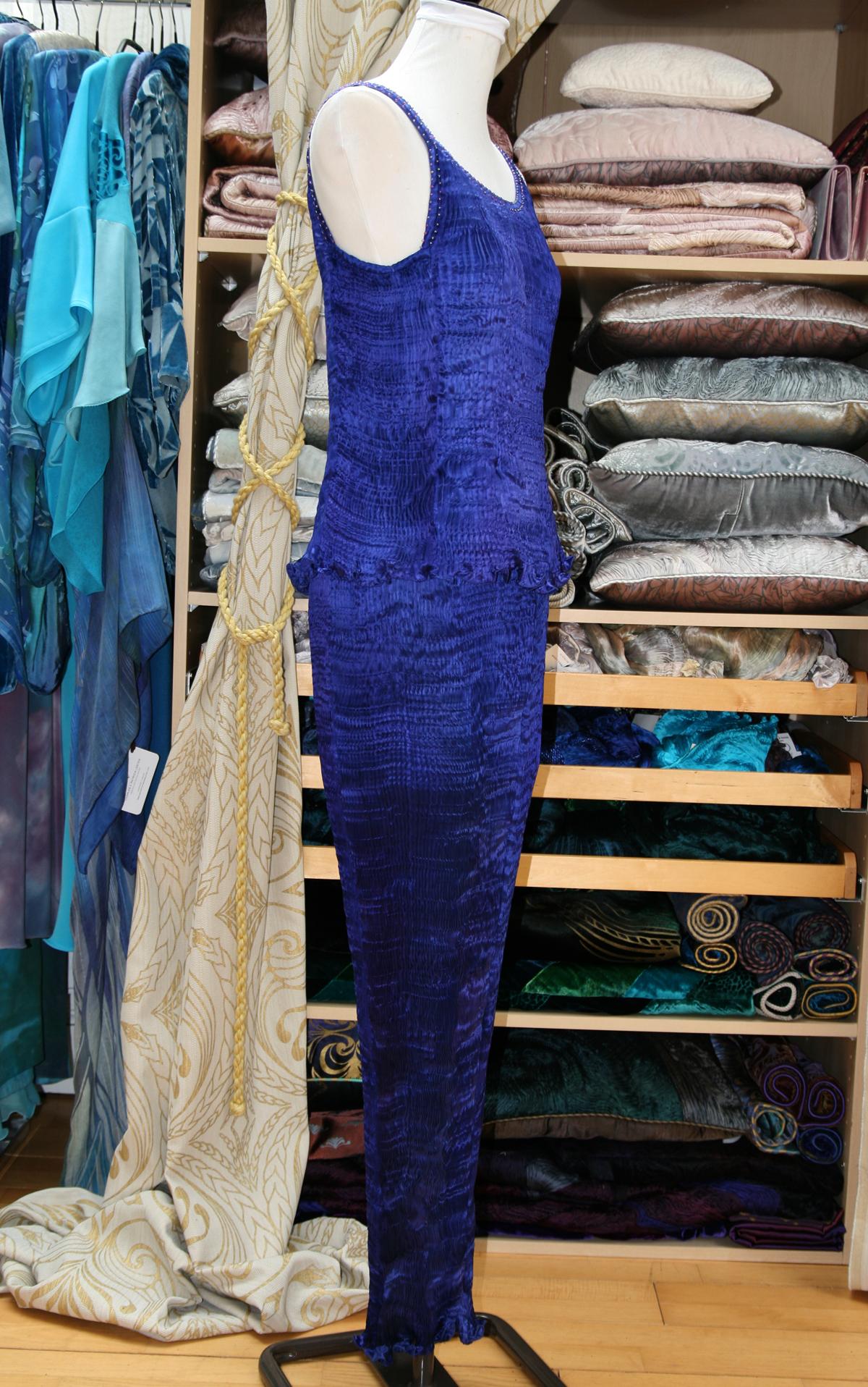 Long Kimono in Enamel Blue-7140