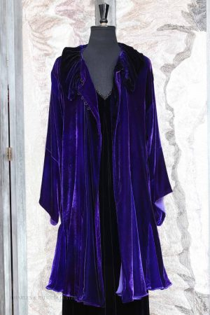 Cora Coat in Lapis Purple Silk and Viscose Velvet