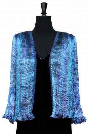 Pleated Silk Jacket in Iris Blue Rainbow Hand Pleated Silk