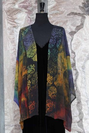 Norma Jacket in Dark Embers Silk Georgette with Antique Block Printing Motifs