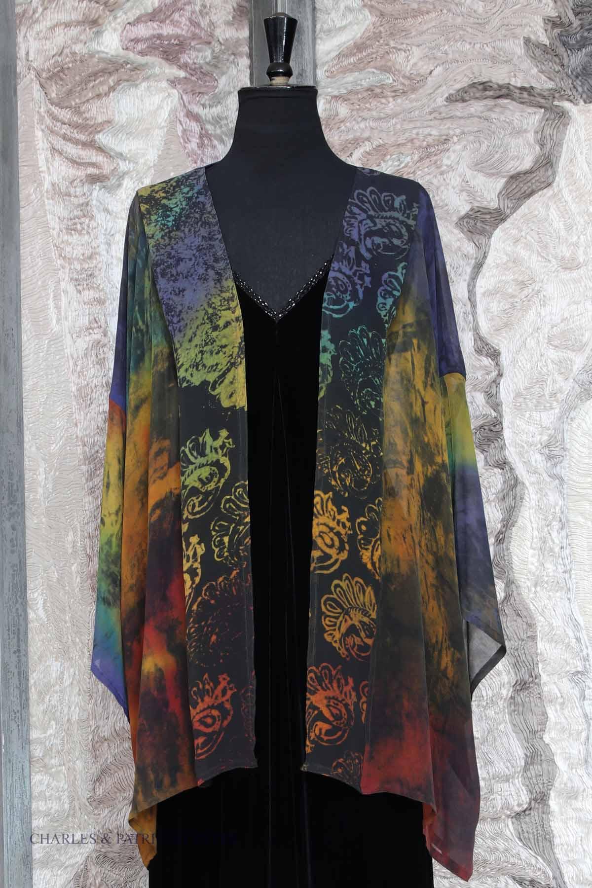 Norma Jacket in Dark Embers Silk Georgette with Antique Block Printing Motifs