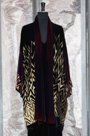 Twenties Coat in Black and Corr Purple Silk and Viscose Velvet with Gold Cockleshell Print