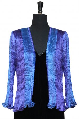 Pleated Jacket in Mixed Lapis Blue Hand Pleated Silk
