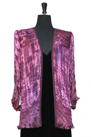 Little Venice Coat in Blackcurrant Mousse with Reflection Phantom Print