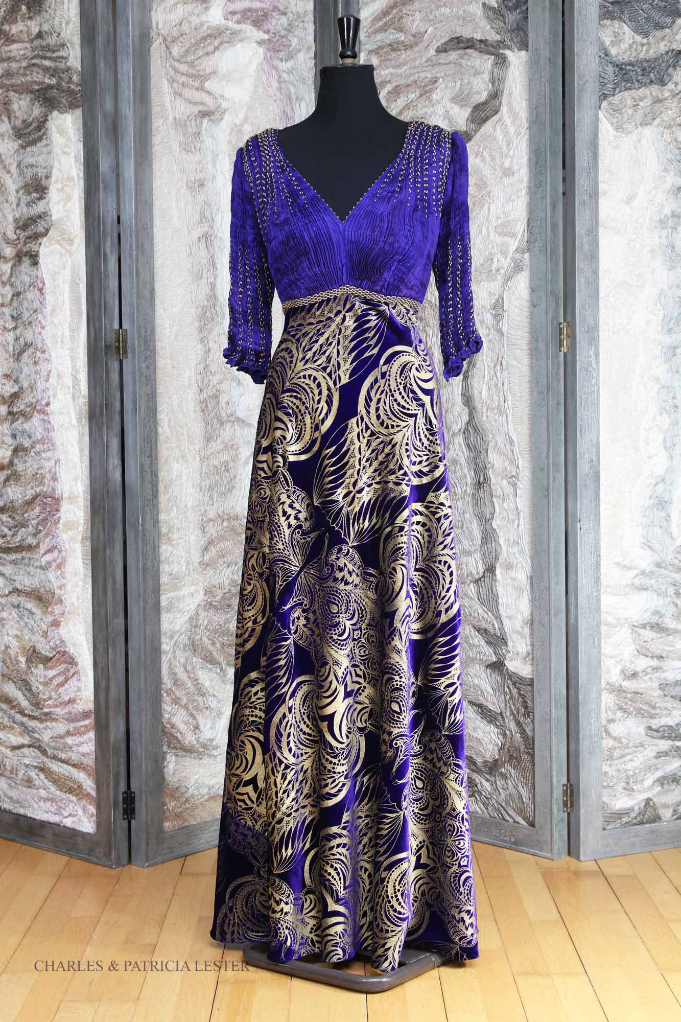 Caitlin Dress in Silk and Viscose Velvet Printed with Owl Print in Gold  with Hand Pleated and Hand Beaded Silk Top