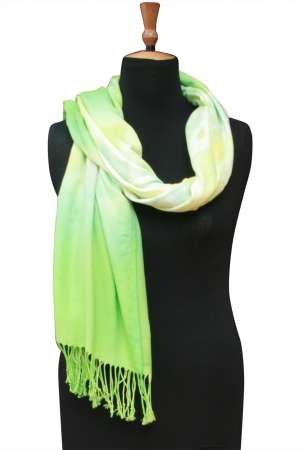 Shawl in Hand-marbled – Spring Lettuce Green