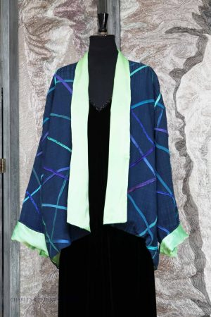 Daytime-Jacket – Navy/Limegreen – Silk Ribbon trim – Geometric pattern