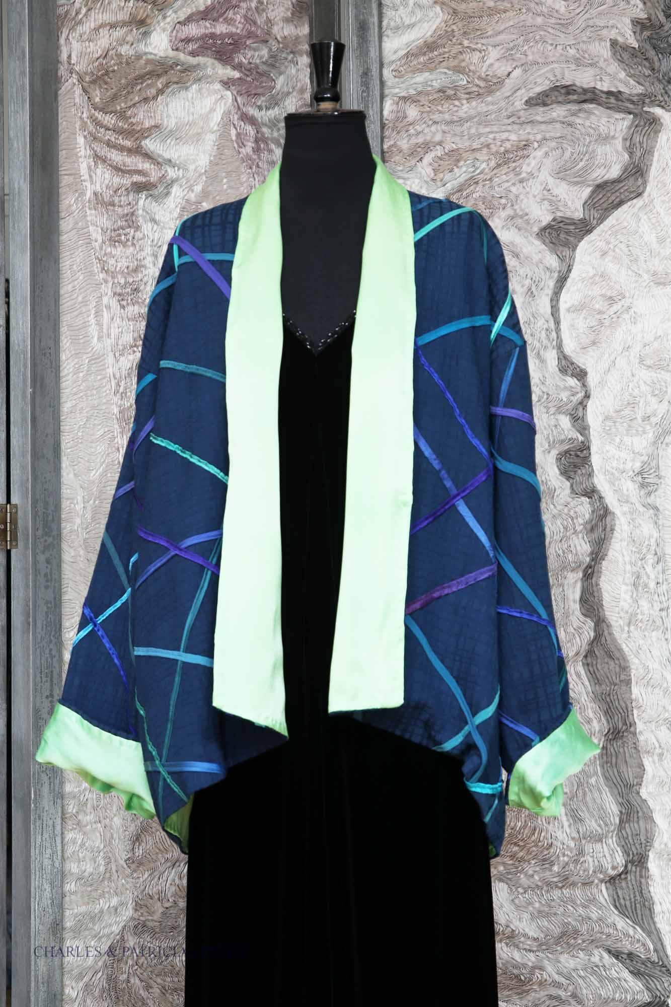 Daytime-Jacket – Navy/Limegreen – Silk Ribbon trim – Geometric pattern